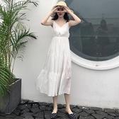 夏季大碼女裝高腰顯瘦V領白色收腰吊帶連身裙子女