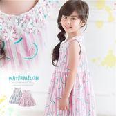 夏日繽粉緹花小西瓜。直條紋棉麻洋裝(250354)★水娃娃時尚童裝★