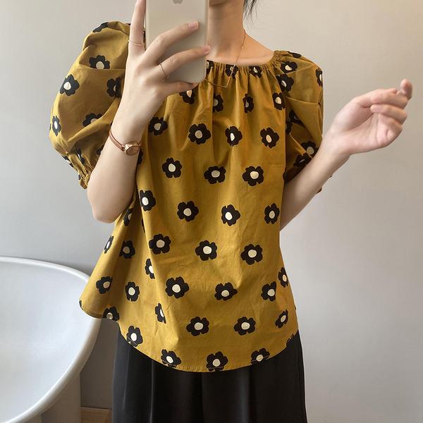*ORead*韓國一字肩泡泡袖圓領衫(黃色M,L)