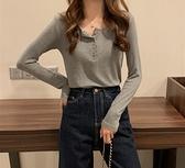 衣服季新款韓版純色百搭長袖T恤內搭打底衫女春修身上衣 快速出貨