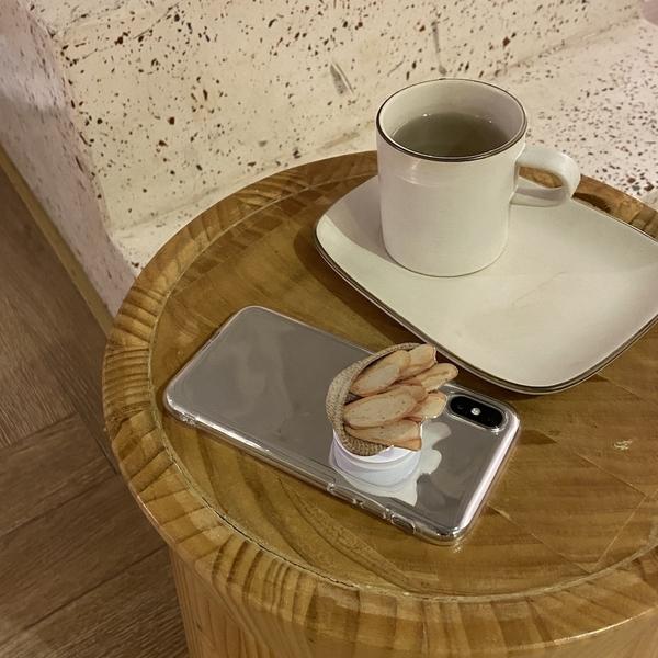 韓國ins氣囊伸縮手機殼支架ins小眾圖案麵包法棍法國麵包氣質百搭