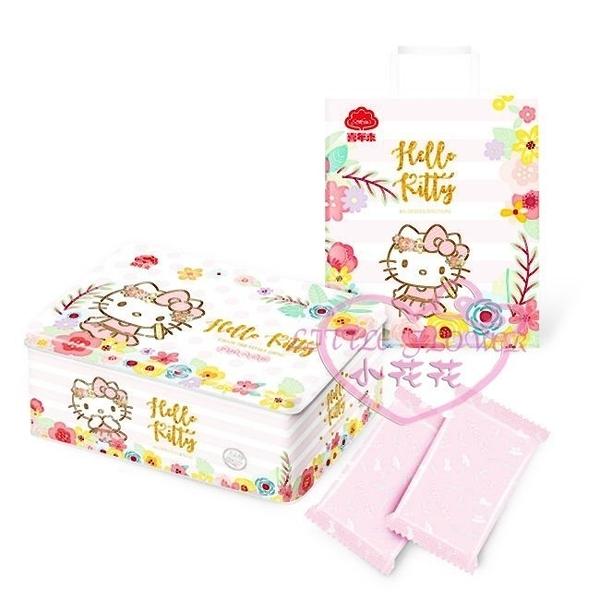 ♥小花花日本精品♥ hello kitty凱蒂貓花草圖案芝麻小蛋捲禮盒附紙提袋零食下午茶0121104