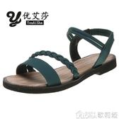 涼鞋羅馬網紅涼鞋女超火潮仙女風新款時尚平底鞋學生百搭