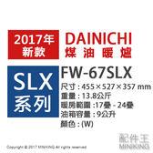 【配件王】日本代購 海運 一年保 DAINICHI FW-67SLX 煤油暖爐 12坪 暖氣 9L 寒流 冷氣團 東北風