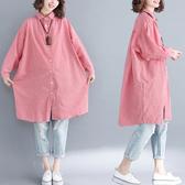 洋裝 連身裙 2020秋季新款棉麻女裝長袖格子洋裝春秋襯衫裙中長款大碼襯衣潮