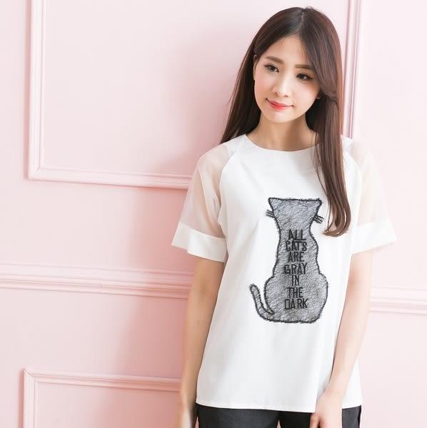 ☆NO.202 SHOP【2364】白~全尺碼~甜甜女孩最愛~雪紡貓咪繡字層次風~大尺碼