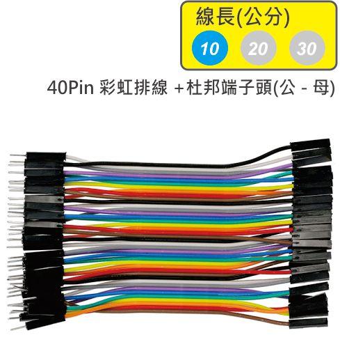 40Pin彩虹排線 + 雙頭杜邦端子 公頭 - 母頭( 線長10公分 )