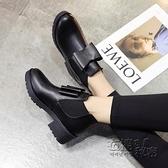 秋上新馬丁靴女短靴粗跟蝴蝶結御姐懶人套腳黑皮靴韓英倫歐美女鞋 衣櫥の秘密