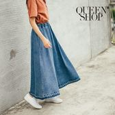 Queen Shop【03020352】鬚邊雪花牛仔長裙 S/M*預購*