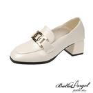 樂福鞋 英式貴族金屬釦2WAY跟鞋(米白)*BalletAngel【18-C-2mi】【現+預】