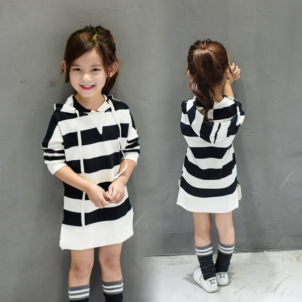 *╮S13小衣衫╭*寬橫條紋連帽長袖長版T裙  1051014