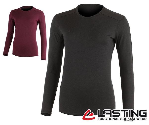 丹大戶外用品【LASTING】歐都納 女款長袖羊毛T恤 LT-LADA 黑/深紫紅