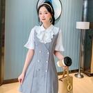VK精品服飾 韓系氣質優雅撞色復古領雙排...