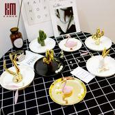 618好康鉅惠kaman陶瓷盤金色鹿角戒指托珠寶首飾架