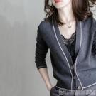 針織外套 秋冬新款加厚拼色毛衣外套洋氣百搭針織衫女外搭開衫春秋寬鬆韓版 印象