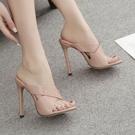 高跟拖鞋 性感女高跟鞋 歐美外貿漆皮交叉帶性感露趾高跟涼拖鞋女