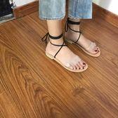 韓國 百搭透明雙杠圓頭平底涼鞋綁帶沙灘羅馬鞋女鞋夏 奇思妙想屋