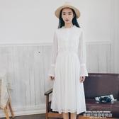 秒殺蕾絲洋裝白色文藝蕾絲連身裙女學生中長款春秋2020新款長袖收腰小清新裙子新年交換禮物