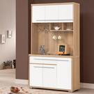 【森可家居】明日香4尺餐櫃 (全組) 10ZX642-4 收納廚房櫃 碗盤碟櫃 雙色 白色 無印北歐風 MIT