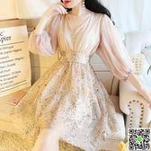 中國風洋裝網紅衣服宮廷彩片亮片刺繡仙女氣質顯瘦泡泡袖V領高腰網紗連身裙 CY潮流站