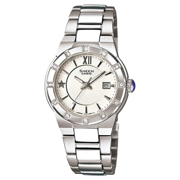 CASIO SHEEN系列 耀眼典藏都會時尚腕錶(白)