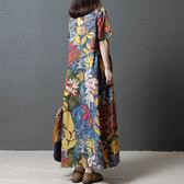文藝洋裝 2019夏季新款複古文藝民族風女裝寬鬆大碼印花長裙短袖棉麻連衣裙