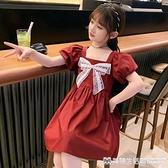 女童洋裝 女童夏裝連身裙薄款2021新款韓版小女孩蝴蝶結裙子夏季公主裙兒童 美物生活館