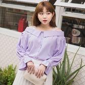 Poly Lulu Mua!蕾絲肩帶翻領露肩上衣-淺紫【91020059】