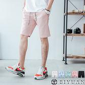 超彈力抽繩素面短褲【HK4201】OBI YUAN馬卡龍窄版休閒褲