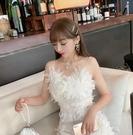 法式超仙蕾絲鏤空花朵吊帶連身裙