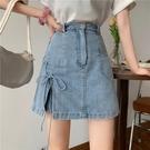 短裙 牛仔半身裙女春夏2021新款設計感小眾開叉包臀高腰顯瘦a字短裙子
