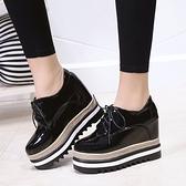 2021春秋款內增高女鞋8cm韓版百搭顯瘦厚底坡跟黑色單鞋漆皮女鞋子 8號店