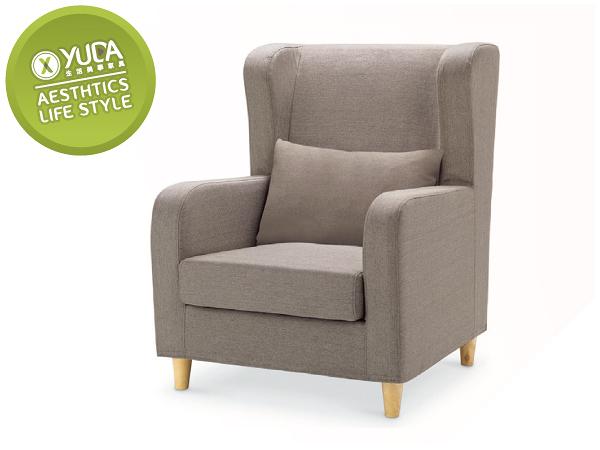 沙發【YUDA】傑西 獨立筒坐墊 亞麻布 淺咖啡 單人 布沙發/沙發椅 I0X 294-101