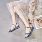 坡跟涼鞋夏季果凍涼鞋女坡跟一字帶仙女旗袍沙灘鞋時裝媽媽水晶塑料鞋 韓流時裳
