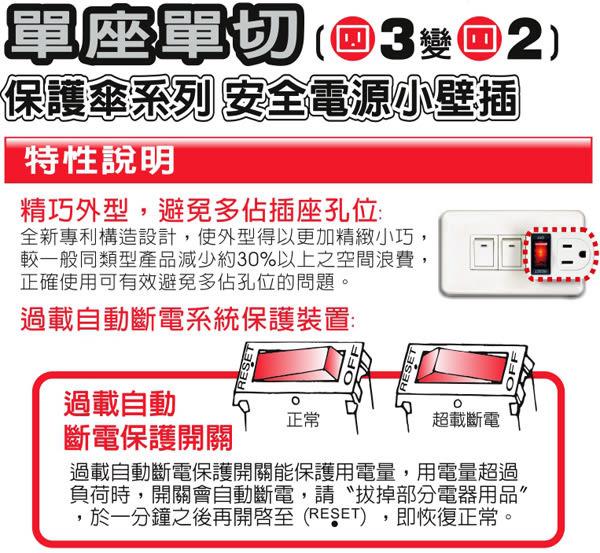 保護傘小壁插-單座單切(3變2)