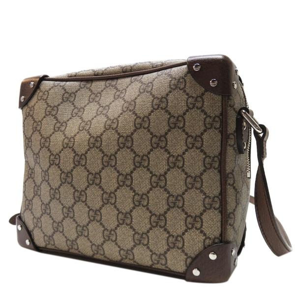 GUCCI 古馳 棕色PVC材質牛皮飾邊斜背包 GG Shoulder Bag 626363【二手名牌BRAND OFF】
