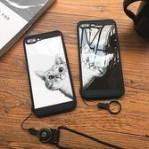 【KK01】iphone 7 plus手機殼 卡通偷看貓咪鏡面 防摔iphone 6s plus手機殼