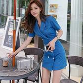 38折專區 韓版OL氣質雙排扣西裝領修身包臀外套式短袖洋裝