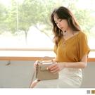 《AB12700》純色雪紡雙排扣翻領短袖上衣--適 2L~6L OrangeBear