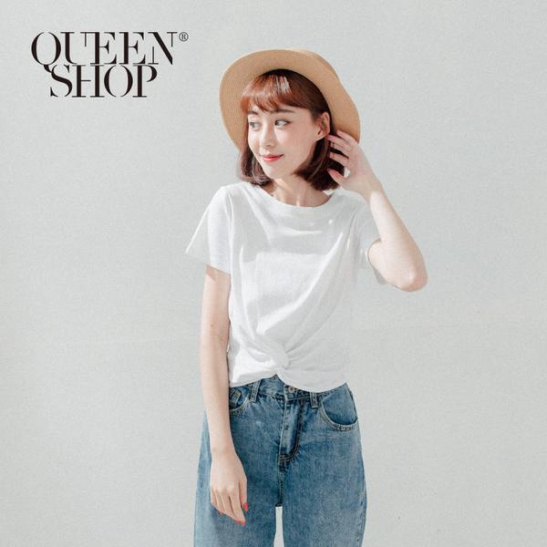 Queen Shop【01096239】下擺扭結造型短版上衣 兩色售*現+預*