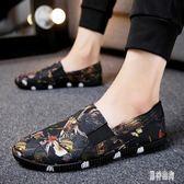 豆豆鞋 2019春季男士豆豆鞋休閒韓版潮流一腳蹬懶人男鞋帆布鞋TA386『男神港灣』