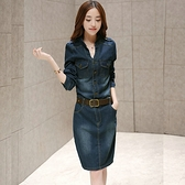 牛仔洋裝 長袖牛仔連身裙女 2021新款春裝大碼氣質中長裙子 修身顯瘦包臀裙 薇薇