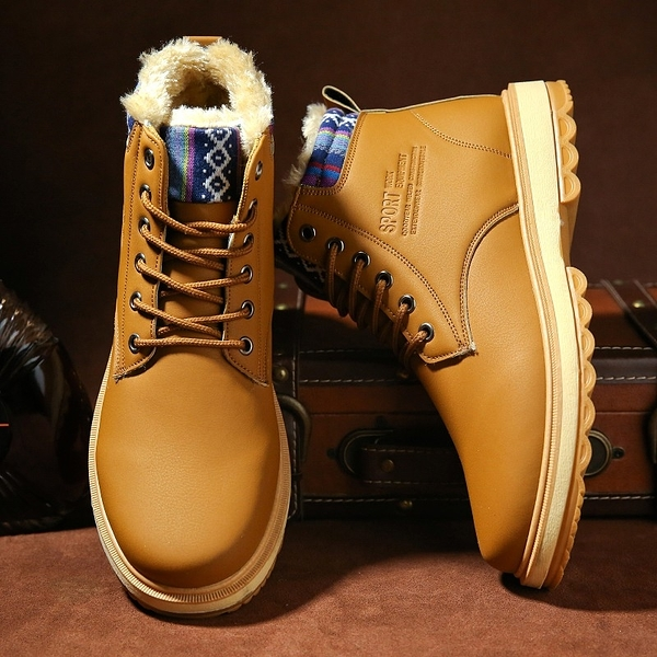 冬季皮毛一體雪地靴男東北加厚加絨保暖棉鞋戶外防水防滑高筒馬丁