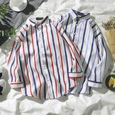 夏季復古港風chic短袖條紋襯衫潮流男女寬鬆中袖上衣7七分袖襯衣 森雅誠品