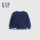 Gap女幼童 保暖仿羊羔絨圓領休閒上衣 656552-藏藍色