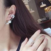 耳環 韓系個性別針設計珍珠鑲鑽耳飾單個耳環【TS325】 BOBI  02/01