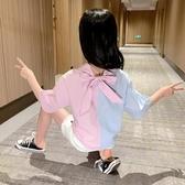 女童襯衫夏裝2020新款兒童中大童夏季短袖襯衣小女孩洋氣開衫上衣