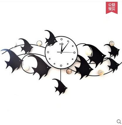 settler卓爾魚群鐵藝掛鐘靜音鐘時尚創意客廳鐘錶擺動掛錶裝飾鐘