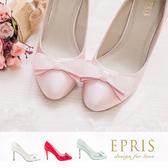 現貨 MIT尖頭鞋中大尺碼新娘婚鞋推薦 幸運女神 蝴蝶結真皮腳墊高跟鞋 23.5-26 EPRIS艾佩絲-甜美粉