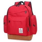 韓新款 學院風休閒帆布雙口袋旅行學生後揹包雙肩包可當媽媽包